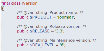 How the version of Joomla